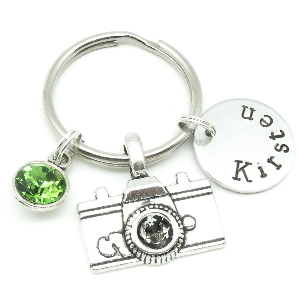 Camera gift name keyring personalised birthstone